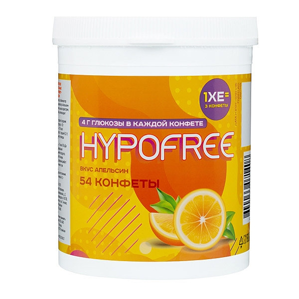 Конфеты HYPOFREE апельсин , в банке 54 шт.